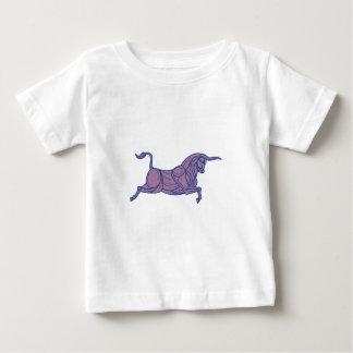 Texas Longhorn Bull Charging Mono Line Baby T-Shirt