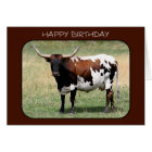 Texas Longhorn Cow Happy Birthday Card