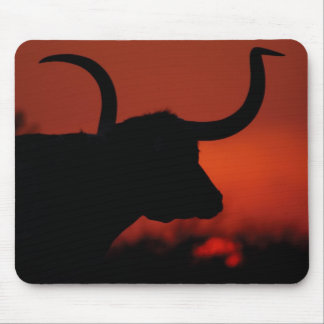 Texas Longhorn orange sunset Mouse Pad