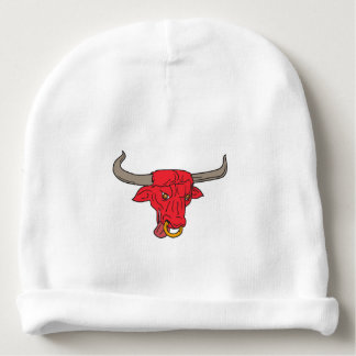 Texas Longhorn Red Bull Drawing Baby Beanie
