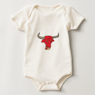 Texas Longhorn Red Bull Drawing Baby Bodysuit