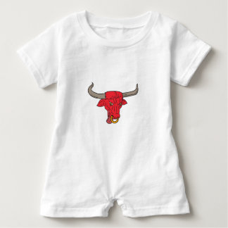 Texas Longhorn Red Bull Drawing Baby Romper