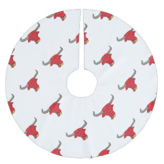 Texas Longhorn Red Bull Drawing Brushed Polyester Tree Skirt