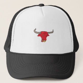 Texas Longhorn Red Bull Drawing Trucker Hat