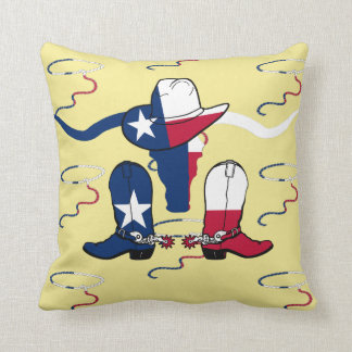 Texas Longhorn Steer Cowboy Hat Boots And Rope Throw Pillow