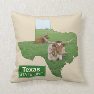 Texas Longhorn Steer State Line Sign ANY COLOR Throw Pillow