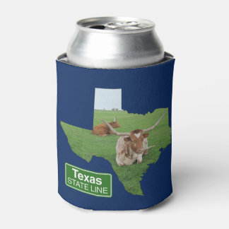 Texas Longhorn Steer State Line Sign Can Cooler
