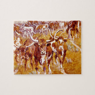 'Texas Longhorns',Olaf C.Seltzer_Great Work of Art Jigsaw Puzzle