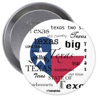Texas Love-Word cloud+Heart Shaped Flag 4 Inch Round Button