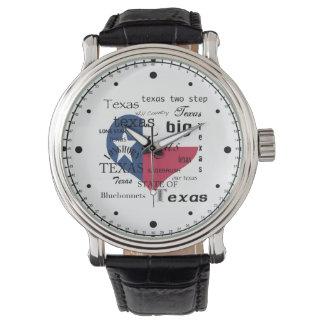 Texas Love-Word cloud+Heart Shaped Flag Watch