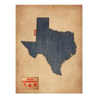 Texas Map Denim Jeans Style Photograph