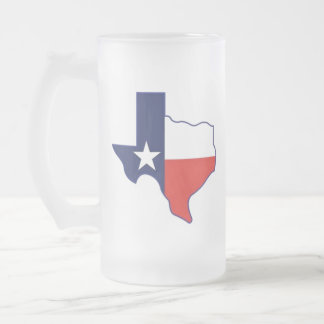 TEXAS MAP FROSTED GLASS BEER MUG