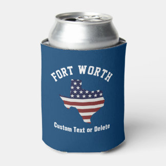 Texas Map | Patriotic USA Flag | Your City or Text Can Cooler