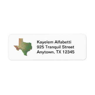 Texas Map Return Address Label