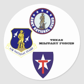 Texas military forces classic round sticker