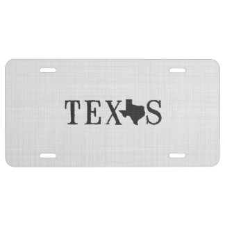 Texas Name with State Shaped Letter License Plate