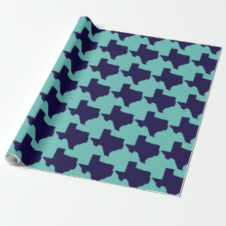 Texas Navy and Turquoise Wrapping Paper