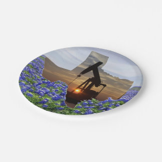 Texas Oil Pump Jack At Sunset On Bluebonnets Paper Plate