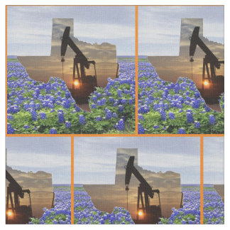 Texas Oil Pump Jack Sunset and Bluebonnets Border Fabric