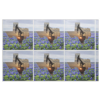 Texas Oil Pump Jack Sunset and Bluebonnets Fabric