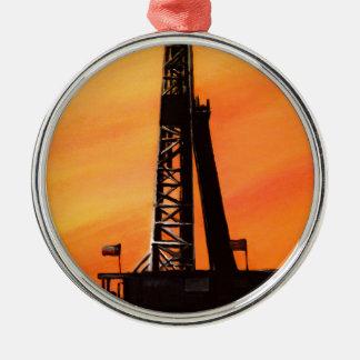 Texas Oil Rig Metal Ornament