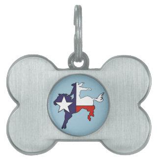Texas outline bucking horse cowboy flag pet ID tag