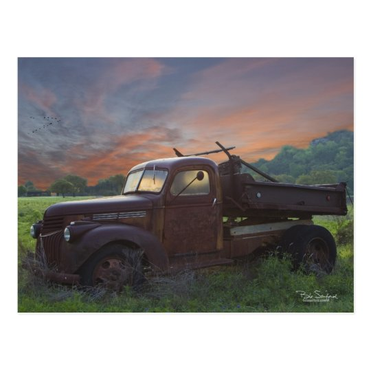 Texas pickup truck postcard