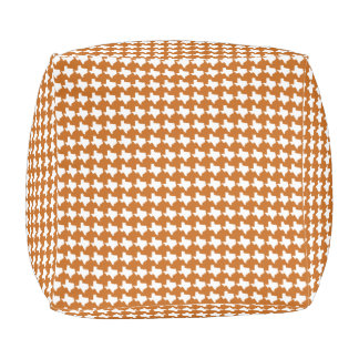Texas Pride! Texas Houndstooth, burnt orange/white Pouf