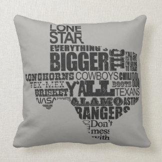 Texas Proud - Typography Texas Shape Throw Pillow