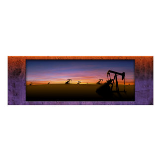 Texas Pump Jacks Sunset Poster