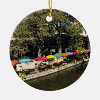 Texas, Riverwalk, dining on river's edge Round Ceramic Ornament