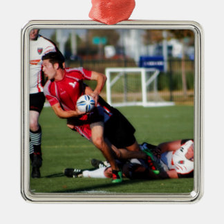 Texas Rugby Silver-Colored Square Ornament