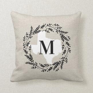 Texas Rustic Wreath Monogram Throw Pillow
