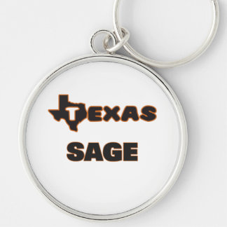 Texas Sage Silver-Colored Round Keychain