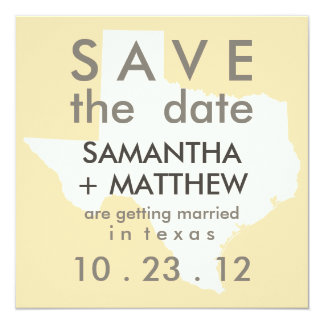 """Texas Save the Date Cards 5.25"""" Square Invitation Card"""