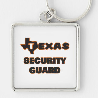 Texas Security Guard Silver-Colored Square Keychain