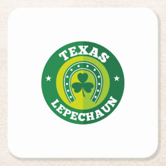 Texas Shamrock Leprechaun St. Patrick's Day Funny Square Paper Coaster