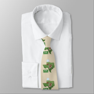 Texas Shape And Longhorn Steer Tie