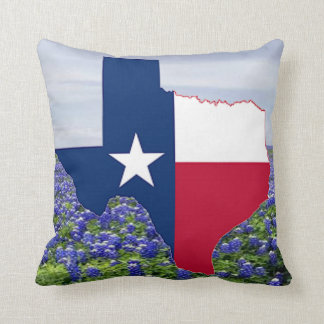 Texas Shape Flag and Bluebonnets Throw Pillow