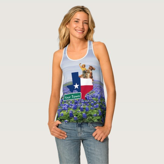 Texas  Shape Flag  Cowgirl and Custom Road Sign Tank Top
