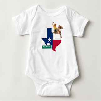 Texas Shape Flag Cowgirl And Houston Road Sign Baby Bodysuit