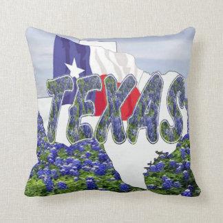 Texas Shape Texas Flag and Bluebonnets Throw Pillow