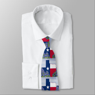 Texas Shape Texas Flag With Bluebonnets Tie