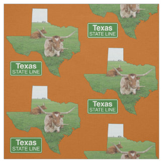 Texas Shape With Longhorn Steer State Line Sign 4 Fabric