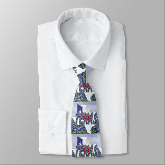 Texas Shape With Texas Flag and Bluebonnets Tie