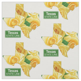 Texas Shape Yellow Rose And State Line Sign Fabric