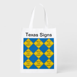 Texas Signs: Watch for Snakes Reusable Grocery Bag