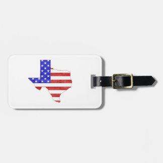 Texas Silhouette Shaped American Flag Luggage Tag