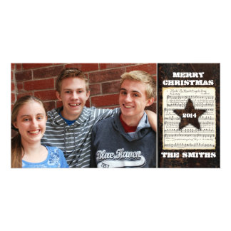 Texas Star Vintage Leather Christmas Music Photo Personalized Photo Card