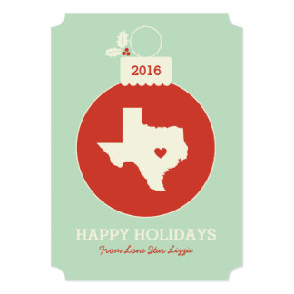 Texas State Christmas Bauble Heart Photo Card